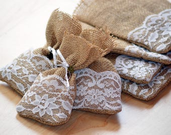 Hessian Wedding Favour Bags, Jute Favour Bags, Burlap Wedding Favour Bags, Hessian Lace Favour Bags, Wedding Favours, Wedding Guest Gift