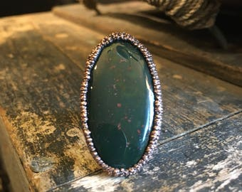 Bloodstone Ring Size 6-1/4 / Large Natural Stone Ring / Handmade Copper Electroformed Ring / Boho Jewelry Hippie Ring Gypsy Statement Ring