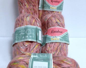 Mohair Wool Yarn Bundle Vintage Phentex Sparkling Rainbow Soft Novelty Yarn Skeins, Irridescent Twisted China Rose Luxury Yarn for Fiber Art