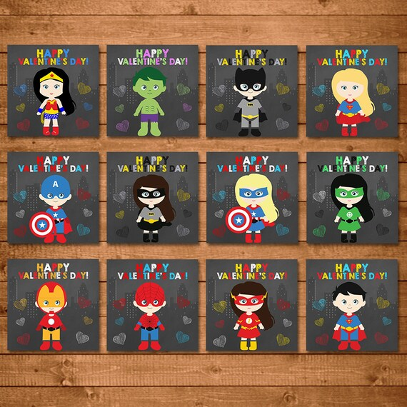 Superhero Valentine's Day Cards - Boys & Girls Illustrated Chalkboard - Superhero School Valentines Cards - Superhero Printable Valentines