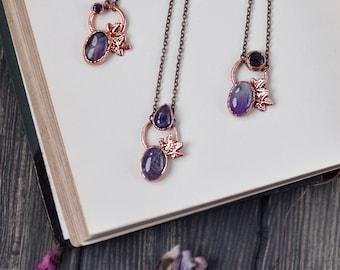 Electroformed amethyst necklace, ultra violet pendant, copper electroform, amethyst crystal, boho necklace, crystal jewelry