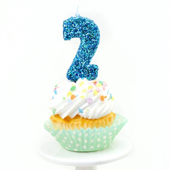 "3"" Number 2 Candle, Giant 2 Candle, Large Blue Candle, Mermaid Birthday, Giant Glitter Candle, Boy Party Decor, Multi-Colored Glitter"