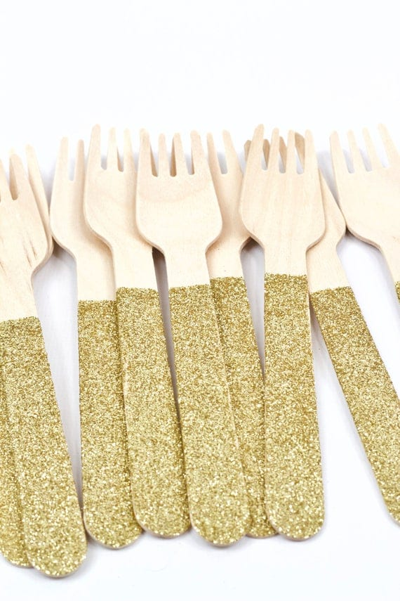 Wood Glitter Fork, Gold Glitter Silverware Gold Glitter Utensils Disposable Party Supply Biodegradable Decorative Tableware Table Settings