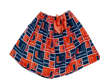 UM girl skirt University of Miami girl skirt sport girl skirt Hurricanes girl skirt Girl skirt UM girl skirt Girl sport skirt