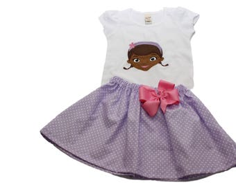 Girl outfit Doc McStuffins birthday outfit Girl personalized outfit Doc McStuffins outfit Girl birthday dress Girl clothes Girl dress