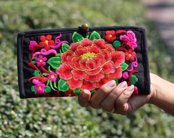 Bi Fold Embroidered  Wallet, Women's Wallet,Wallet Women's, iPhone case,  Hmong Wallet, Hill Tribe Wallet Hippie Wallet, Boho Purse