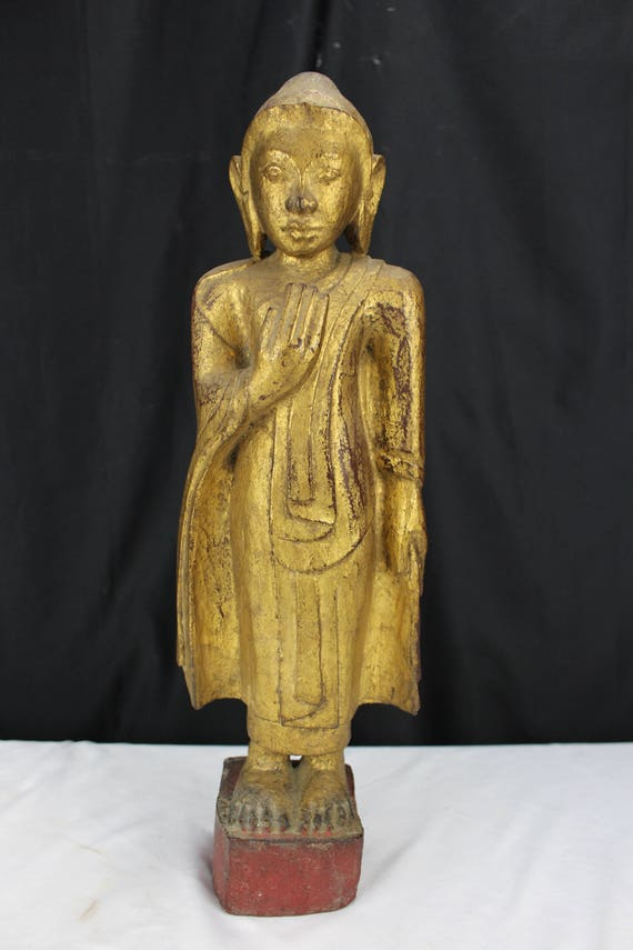 Antique 18th Century Wood Shan Buddha Red Lacquered and Gilded Burma (Myanmar)