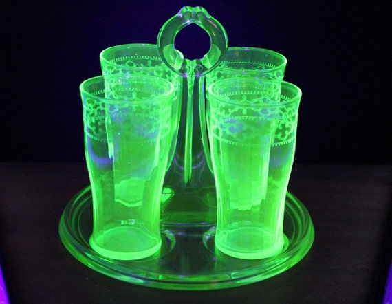 Antique Drink Set Uranium Green Dunbar Tray 4 Etched Glasses Serving Tray-Barware-Drinkware-