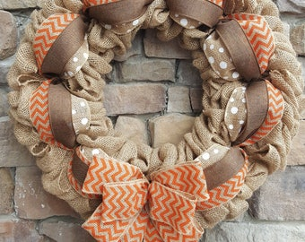 Fall Wreath, Chevron Fall Wreath, Burlap Fall Wreath, Autumn Wreath, Thanksgiving Wreath, Burlap Wreath, Orange Chevron, Orange and Brown