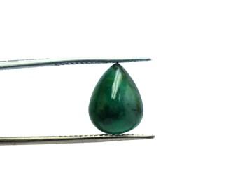 Natural Emerald Pear Shape Cabochon 4 Carat 9x12 mm Size Natural Loose Gemstone