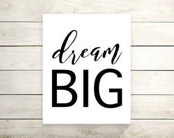 Dream Big Canvas Print - Canvas Art Print - Wall Art - Home Decor - Inspirational Quote - Motivational Poster -Canvas Art - Typography Print