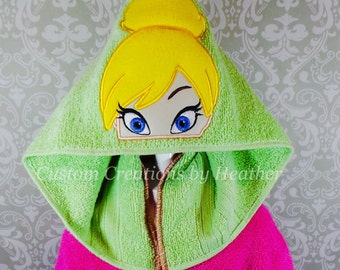 Tinkerbell Fairy Peter Pan Inspired Hooded Towel on High Quality Belk Department Store Towels