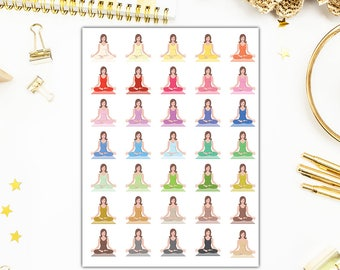 Yoga Stickers, Yoga Planner Stickers, Functional Planner Stickers – Will Fit Any Planner– 0953