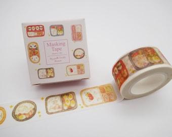 Bento box washi tape, Japanese food washi tape, kawaii washi tape, cute planner tape, cute masking tape, sushi washi tape, foodie, cute food