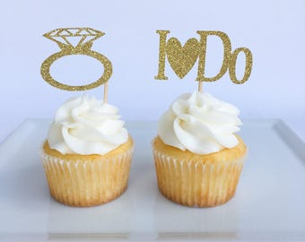 Engagement cupcake toppers | Bridal shower cupcake toppers | Bridal shower decorations | Engagement party decorations | Ring cupcake topper