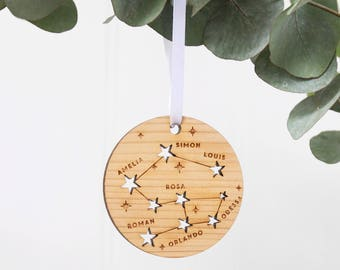 Family Constellation Christmas Tree Decoration|Special family Christmas stars|Family tree|cedar wood personalised xmas bauble ornament