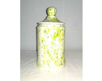 Vintage Pottery Jar,Splatterware,Pottery Canister,Jar with Lid,Kitchen Storage,Pottery,Confetti Jar,Art Pottery,Yellow, Green,Retro Kitchen