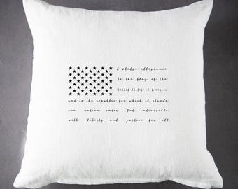Patriotic Flag - 20 x 20 - 100 % Ramie - Throw Pillow - Accent Pillow - Cushion Cover - Pillow Cover