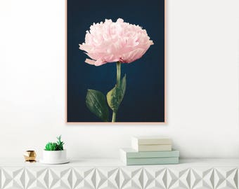 Modern Pink and Navy Peony Print, Pink Peonies Wall Art, Floral Print Art, Extra Large Printable Floral Decor, Girls Nursery Decor