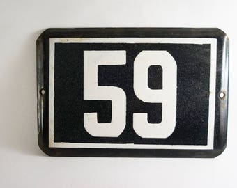 Number 59 Vintage House Numberplate 59, Black and White Enamel Sign 59