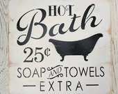 Hot Bath | sign | vintage...