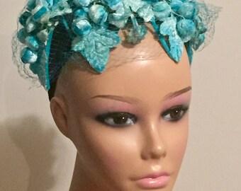 Vintage Hat 50s Chapette Original by Howitt Teal Turquoise Blue Bandeau Style Floral Headband Fascinator