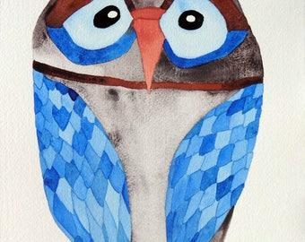 Whimsical art, owl art, original art, watercolor painting, modern nursery decor, kids room art, nursery art, whimsical animal art, owls