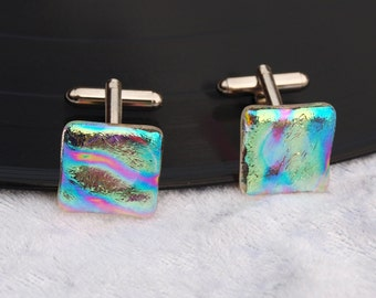 White iridised Dichroic fused glass cuff links - Would make a great wedding / birthday / anniversary present / gift comes gift boxed