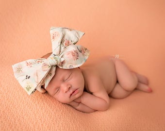 BOHO FLORAL Gorgeous Wrap- headwrap; fabric head wrap; floral head wrap; boho; newborn headband; baby headband; toddler headband