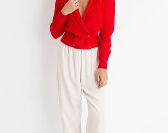 80s Red Wrap Sweater S