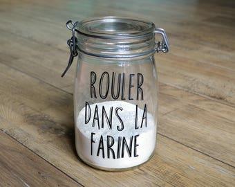 """Jar """"Roll in flour"""" jar glass vintage storage decor kitchen zero waste zero waste decal vinyl sticker"""