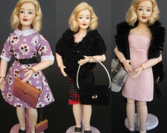 OOAK dresses in 1:12 scale for Heidi Ott and dollhouse. Miniature by Paola&Sara Miniature. Dress, doll, dollshouse.