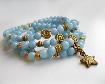 Mala bracelet of 108 aquamarine beads