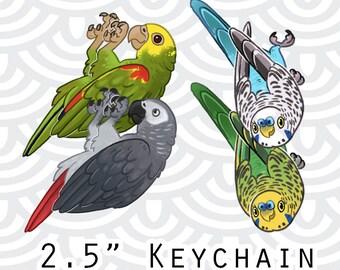 "2.5"" Hanging Bird Keychain . Budgie . African Grey . Amazon Parrot ."