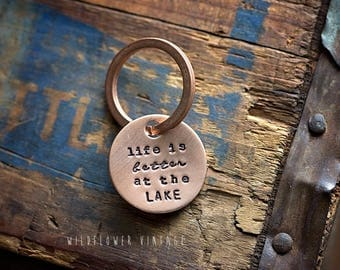 Life is Better at the Lake keychain | hand stamped copper disc outdoorsy Lake Life