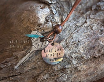 Volkswagen Vintage Key Necklace | Livin' Like Hippies Feather Leather Hand Stamped Repurposed Boho VW Gifts for her