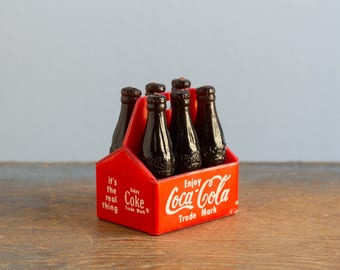 Vintage Miniature Plastic Coca Cola Crate with 6 Coke Bottles, Made in Taiwan