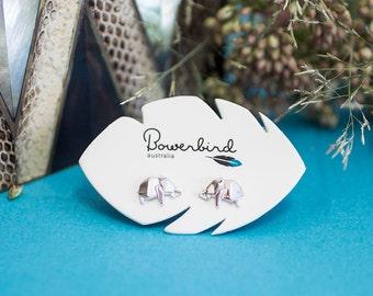 Elephant Origami Sterling Silver Stud Earrings