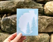 Two Pines Adirondack Silhouette Decal  / Hiking Decal / Mountain Decal / Mountain Sticker / Adk Decal / Adk Sticker / Upstate NY / New York
