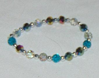 Faceted blue hues sparkly bracelet