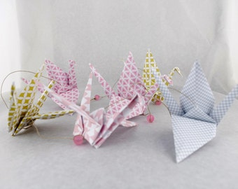 Vertical Garland 6 cranes graphic patterned origami - grey gold pink - baby girl's room wall decor