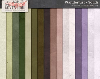 Travel Card Stock, Wanderlust Solid Digital Paper Pack, Shabby Cardboard Textures, Digital Scrapbooking Backgrounds, Green, Purple, Brown