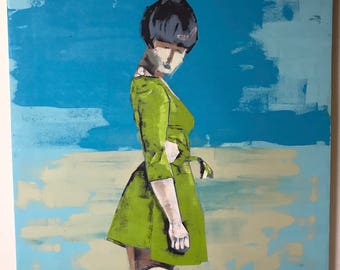 Original Oil Painting Girl in the Green Dress