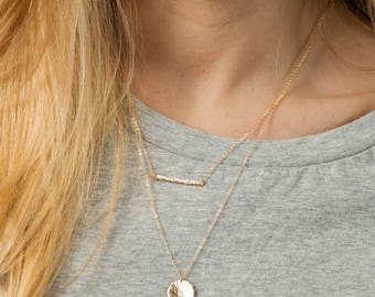 Thin gold necklace - simple gold bar necklace - layering necklace set