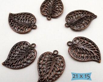 Copper Plated Brass Heart Leaf Pendant—3 Pcs. | 36-LFC 1820-3
