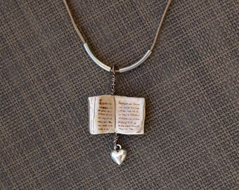 Book Pendant Necklace, Polymer Clay Open Book and Heart Charm Wire Jewelry, Gift for Teacher Book Lover or Librarian