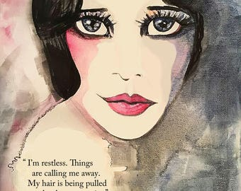 Anais Nin quote, fashion illustration, hi res instant download art print, flapper art, vintage style art, pink grey fashion print