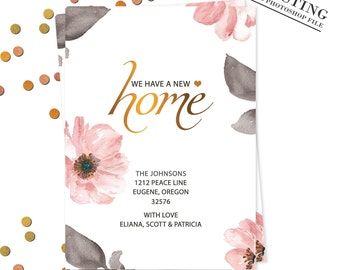 Watercolor Floral Moving Announcement We've Moved New Home Card New Address Card New Address Announcement New Home |PHOTOSHOP FILE| #MA_7