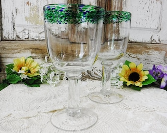 Water Goblets/Wine Glasses/Large Water Glasses/Stemware/Clear-Cobalt Blue and Green Trim/Pair/Hand Blown/Vintage