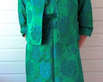 1960s Suit Green Brocade Cocktail Mad Men Blue Emerald